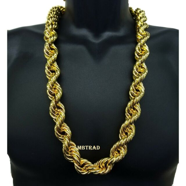 14k Gold Plated Necklace Rope Chain 36 Inch Length Big Fat Thick