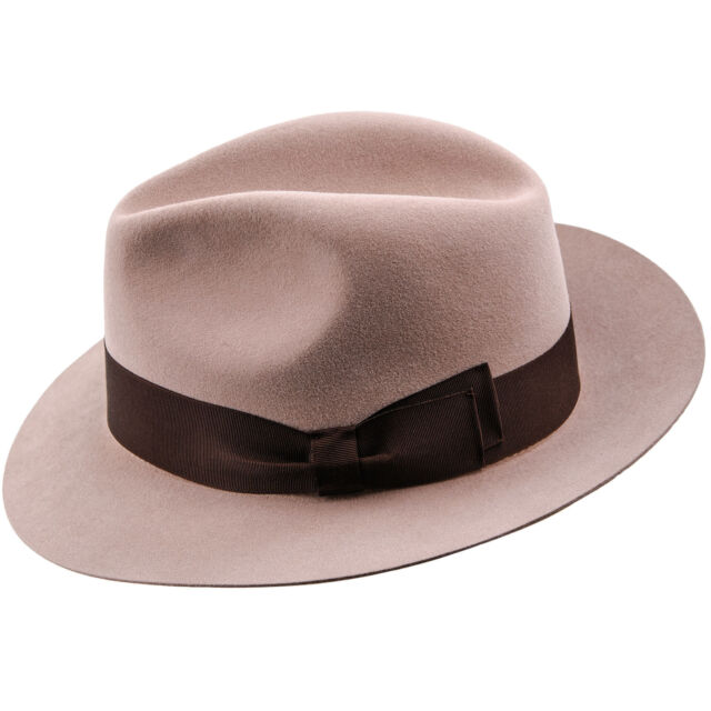 Men s Mosca Rabbit Felt Wide Brim Fedora Coney Elegant Trilby Autumn ... 665081a90f7