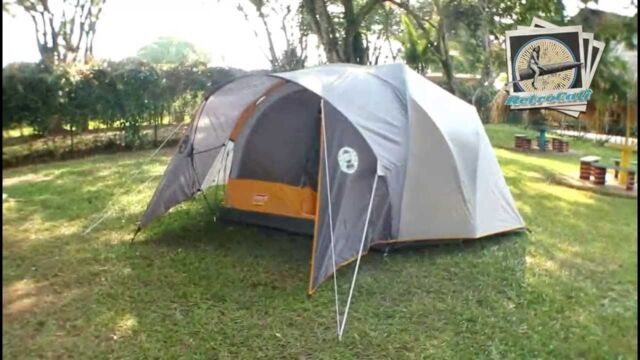 Coleman Bayside 6-Person Family Dome C&ing Tent - Orange/ Grey USED & Greatland 6-person Family Dome Camping Tent Coleman 2 4 8 Sleeping ...