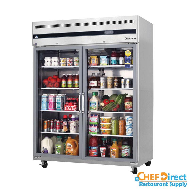 Everest Esgwr2 59 Double Glass Door Reach In Refrigerator Ebay