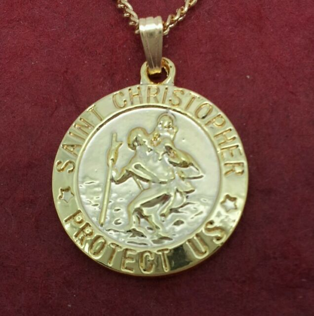 St christopher necklace gold plated charm pendant and chain travel st christopher necklace gold plated charm pendant and chain travel saint aloadofball Images