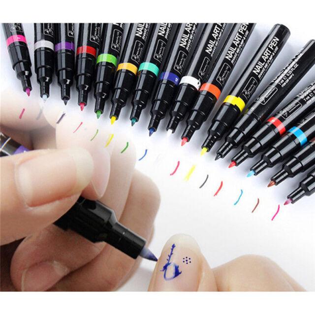 16 Colors Nail Art Pen Painting Design Drawing Pencil UV GEL Polish ...