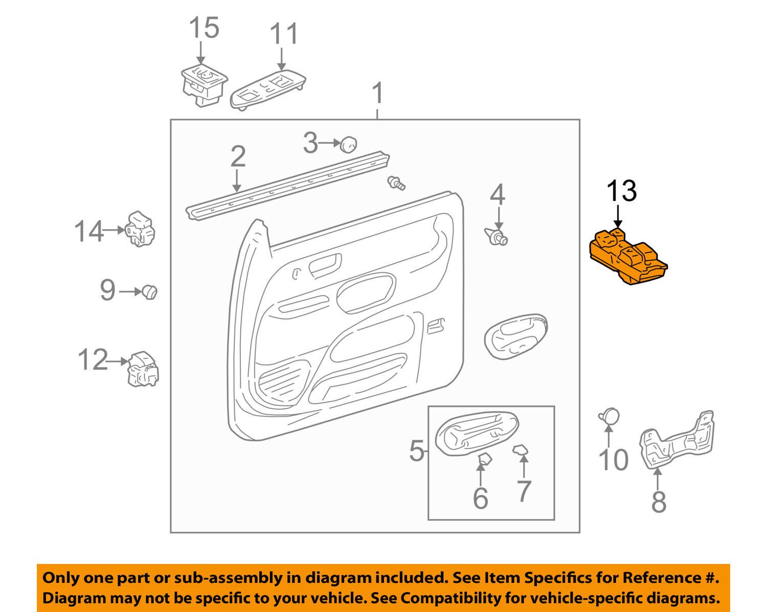 00 04 Tundra Wiring Diagram Mirror Free Download Oem Radio Wire Toyota Front Door Window Switch 8482008010 Ebay 2002 Exhaust At