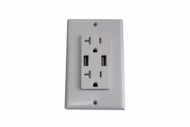 Dual Plug Electric Wall Socket Adapter With 2 USB Port Outlet Panel ...