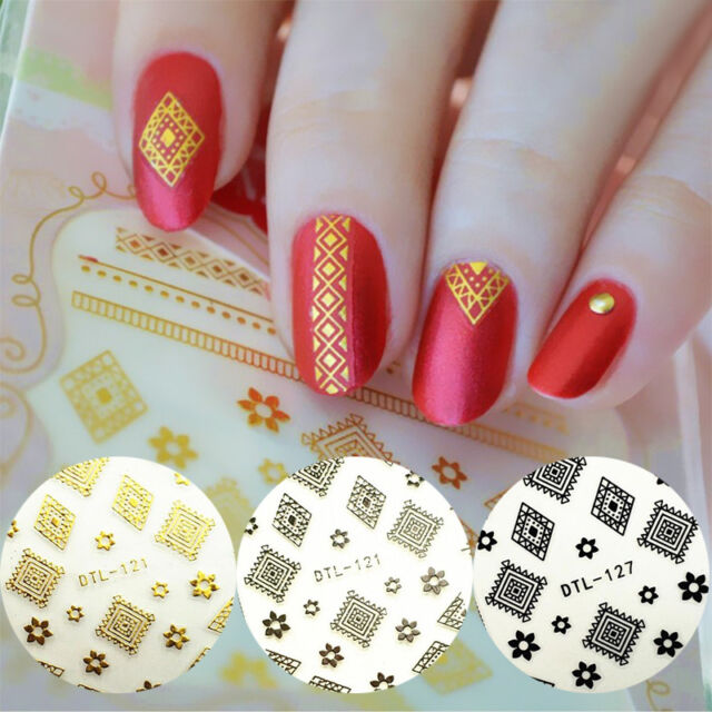 4 Sheets 3d Nail Stickers Tattoos Flower Rhombus Gold Silver Black ...