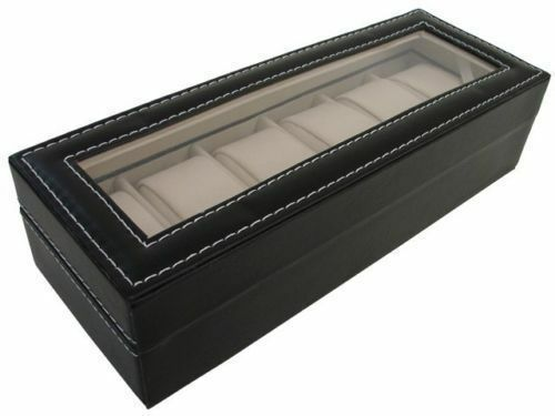 Faux Leather Watch Jewellery Display Box Glass Top Storage Case 6