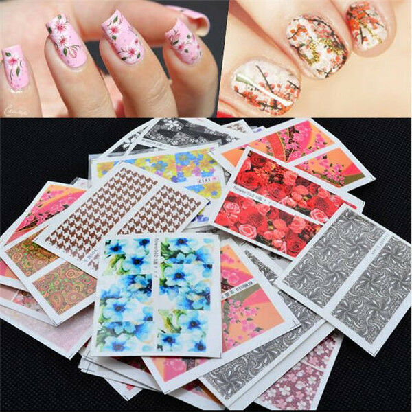 Set 10 Pcs Decal Water Transfer Manicure Nail Art Stickers DIY Tips ...