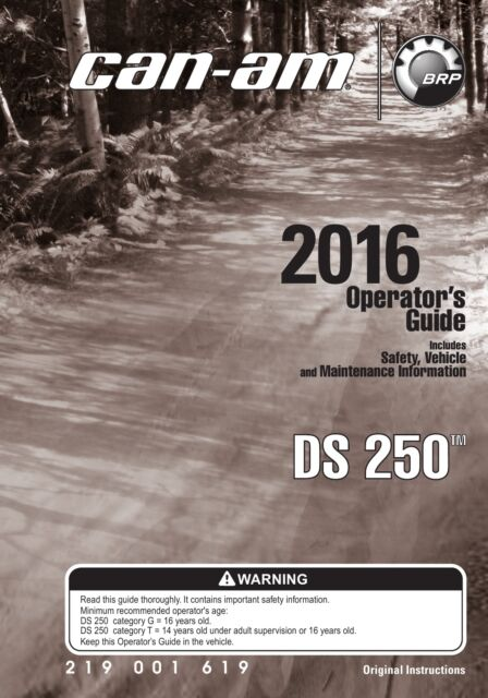 can am ds 250 2016 atv owners operators manual paperback ebay rh ebay com Owner's Manual 2015 can am spyder operator's manual
