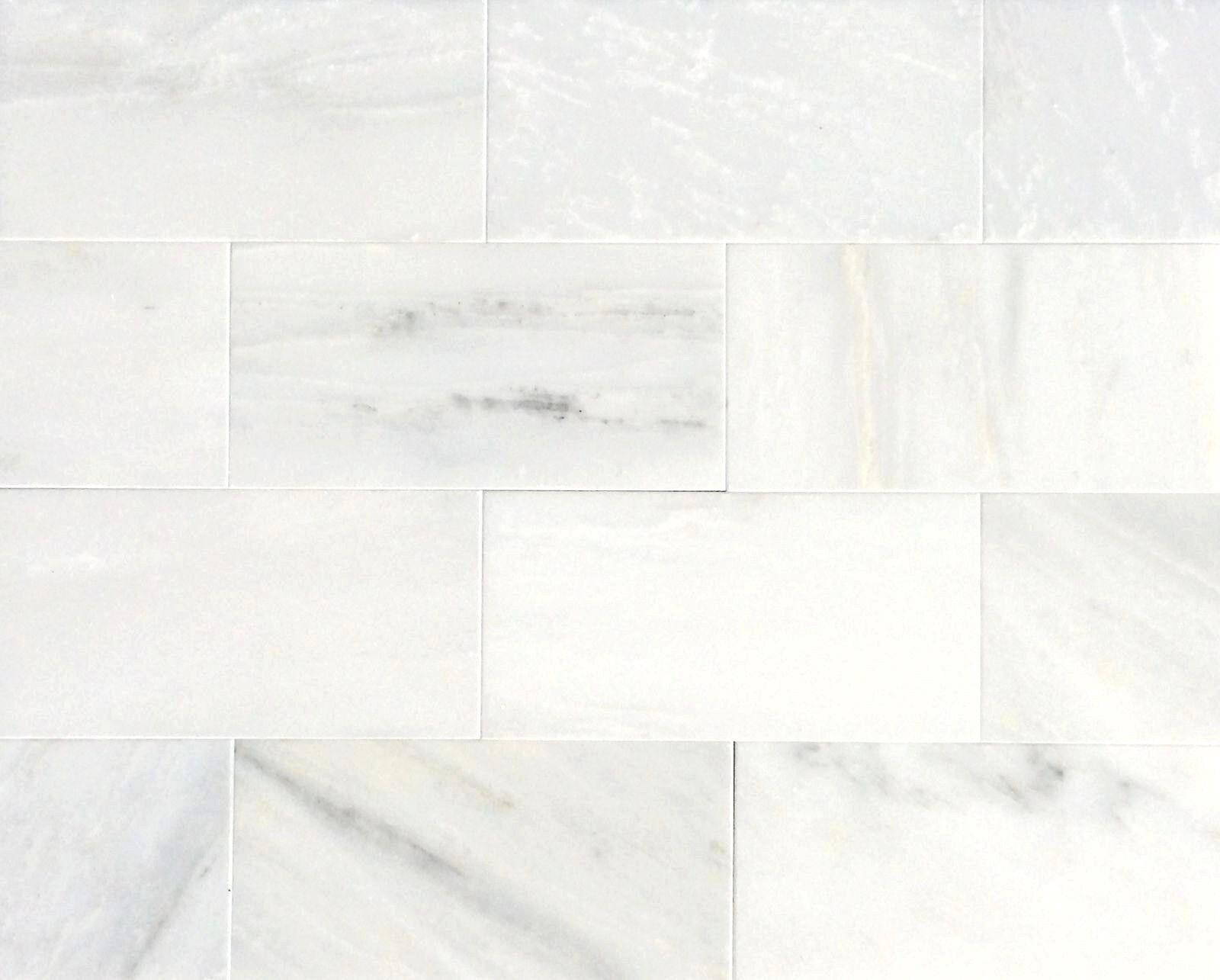 White Carrara Subway 3x6 Honed Marble Tile Backsplash Wall Kitchen