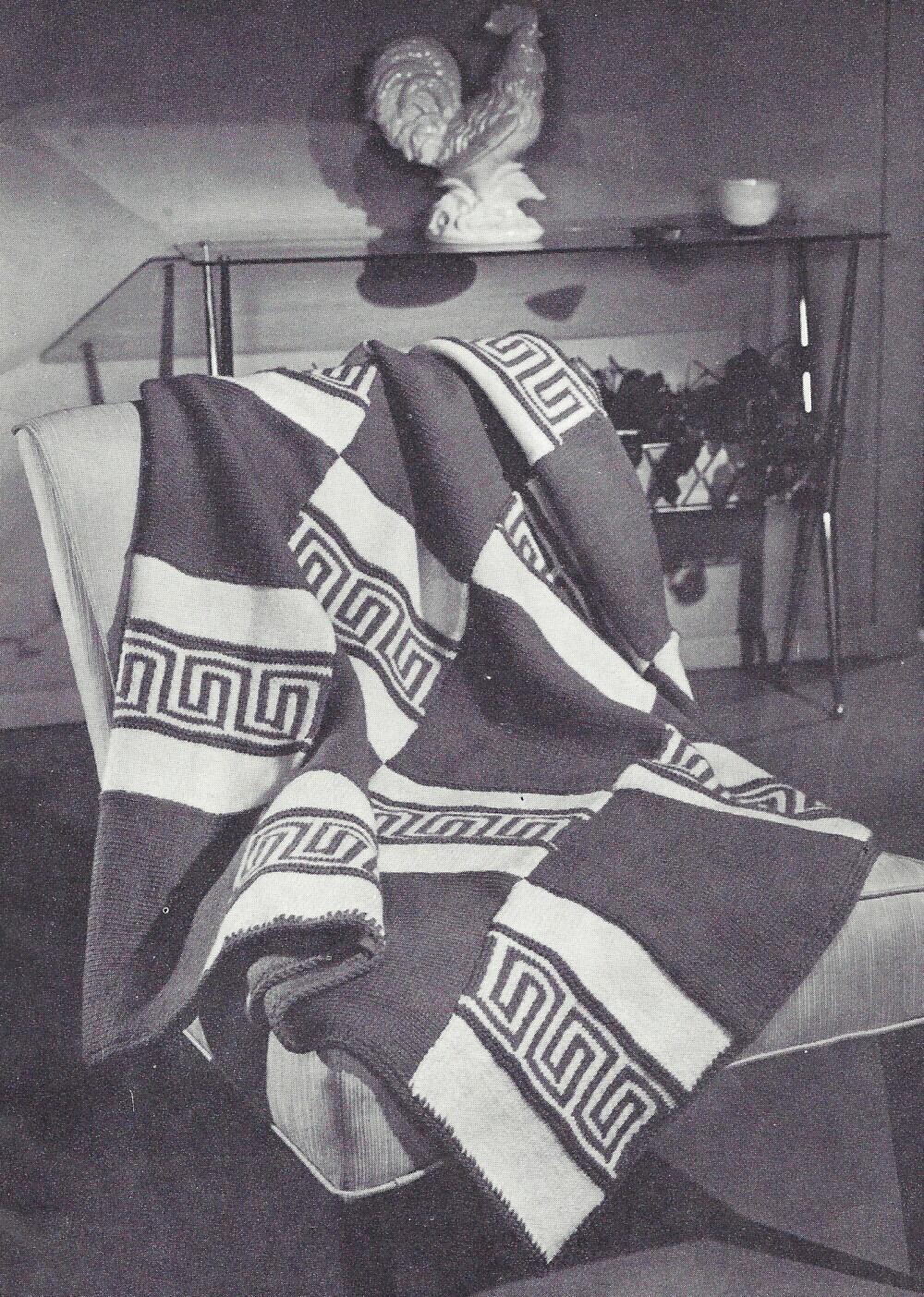 Vintage Knitting Pattern to Make Knitted Afghan/throw Greek Key ...
