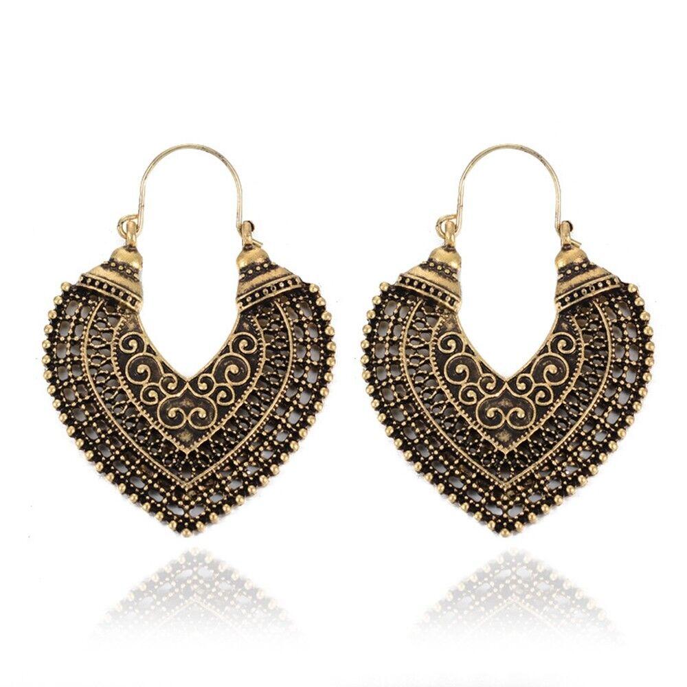 Women Vintage Boho Style Heart Shaped Hollow Carved Pierced ...