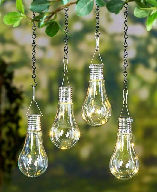 Set of 2 LED Hanging Solar Lights Light Bulb Outdoor Patio ...