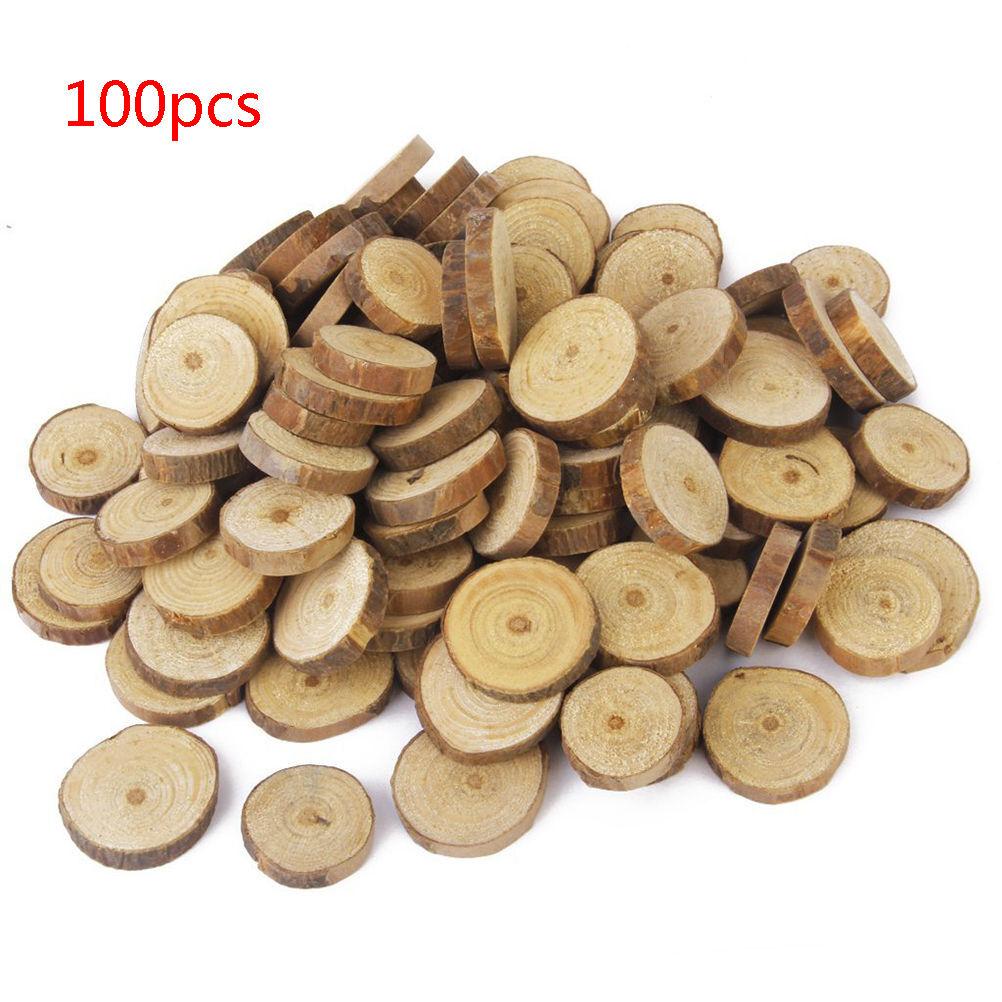 100pcs 15 3cm Wood Log Slices Discs Diy Crafts Wedding Centerpieces