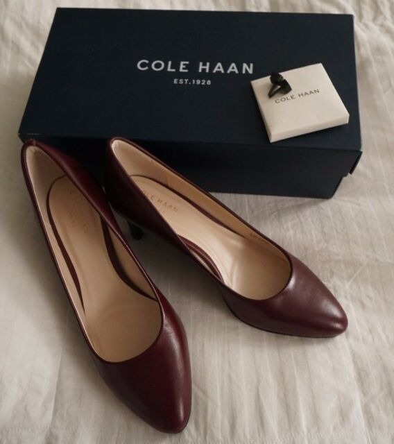 Cole Haan Women's Hellen Grand Pump 65mm Tawny Port Leather- 6B -extra sole  heel