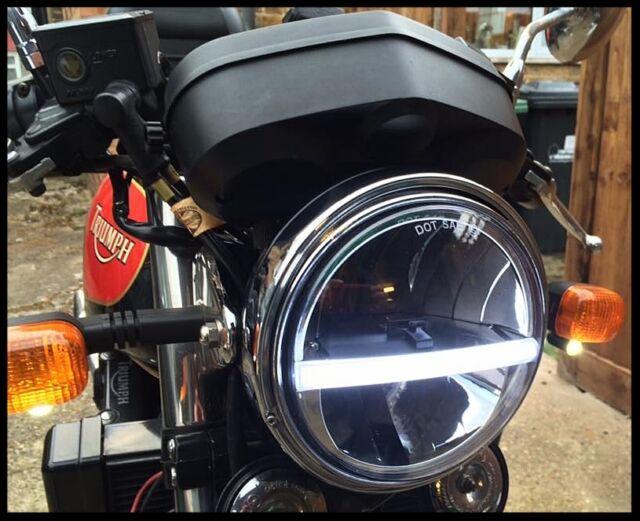 Cafe Racer Headlight Assembly : Headlight headlamp led cree light quot cafe racer