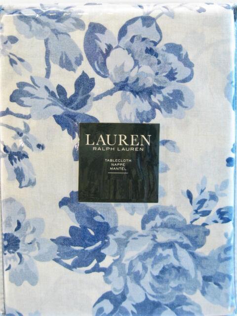 Ralph Lauren Cotton Tablecloth Mireille Floral Navy Blue Soft White 60 X  104 NEW