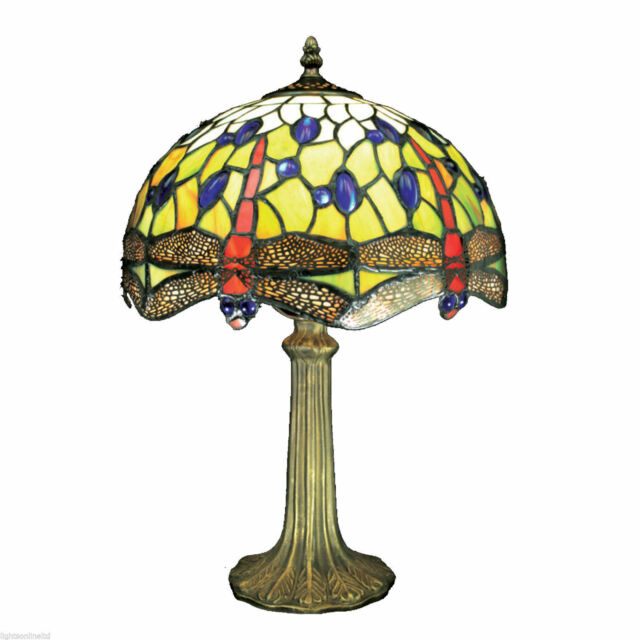 Tiffany Stained glass Table Lamp Red/Green Dragonfly RM3 PM04