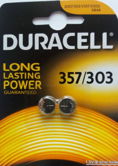 2 Duracell Knopfzellen 357 / 303 (D357 - SR44W - K576) Batterien 1,5 Volt