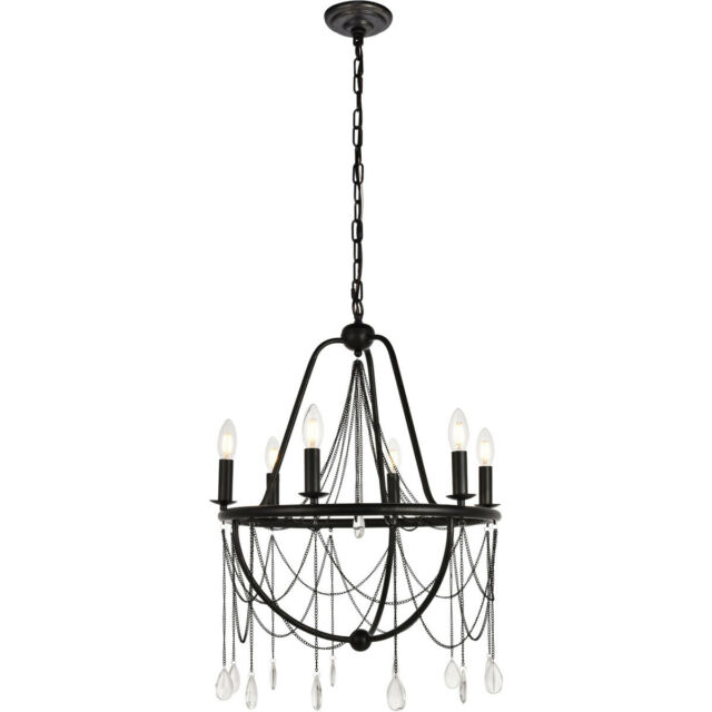 6 LIGHT CRYSTAL WROUGHT IRON STYLE CHANDELIER DINING LIVING ROOM KITCHEN  BEDROOM