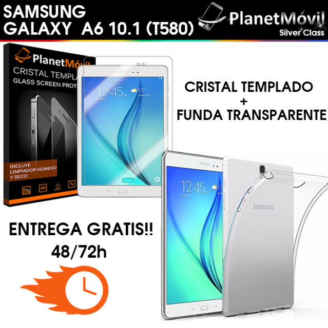 "FUNDA TRANSPARENTE  + CRISTAL TEMPLADO SAMSUNG GALAXY TAB A6 2016 T580 10.1"""