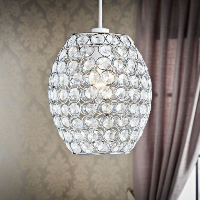 Clear gems with silver wire Verona Oval Pendant Light Shade . & Clear Gems With Silver Wire Verona Oval Pendant Light Shade . | eBay azcodes.com