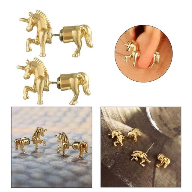 Unicorn Horse Ear Stud Punk Stereoscopic  Impalement Lady Earrings Gift