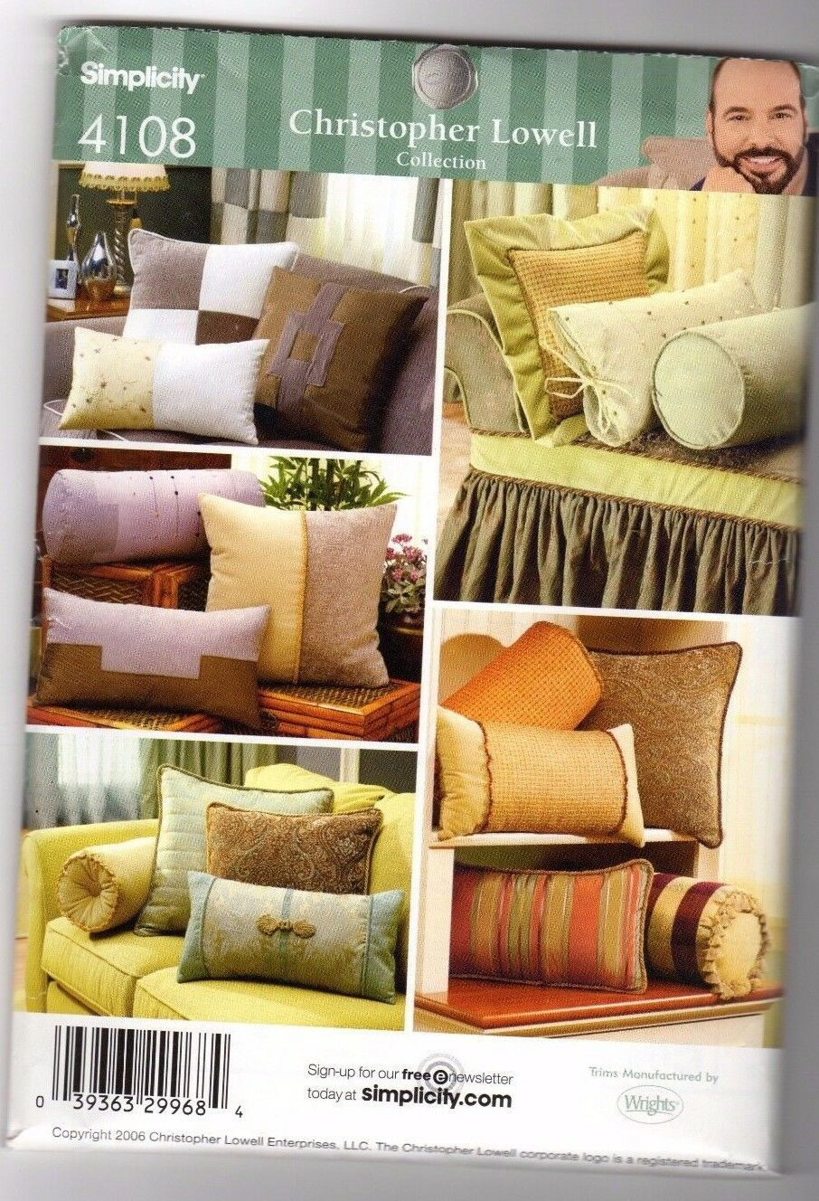 Simplicity Pattern 4108 Christopher Lowell Collection Bolsters ... on christopher lowell seven layers of design, christopher lowell studio makeover, christopher lowell outdoor room,
