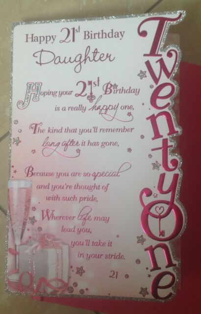 Large daughter happy 21st birthday greetings card girl 21 verse daughter birthday 21st card with glitter and sentiment verses bookmarktalkfo Choice Image