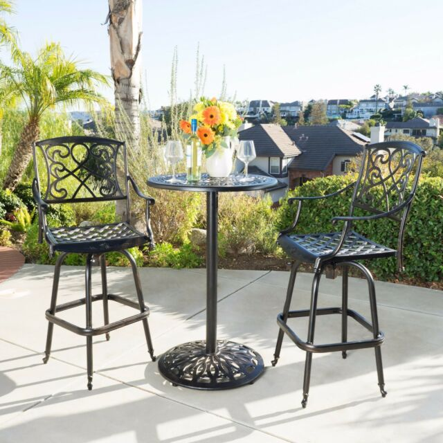 Patio Bar Height Furniture Set Outdoor Bistro Table Chairs Aluminum ...