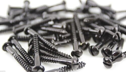 BLACK JAPANNED SLOTTED ROUND DOME HEAD WOOD SCREWS ALL SIZES