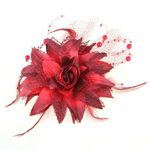 Red Organza Feather Pearl Flower Corsage Hair Band Brooch Pin Prom Cocktail V4F3