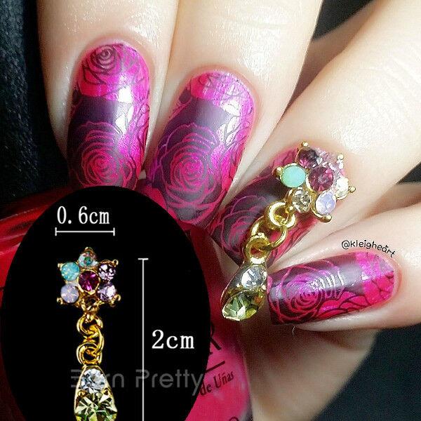 2pcsset Rhinestone Floral Design Charming 3d Nail Art Dangle
