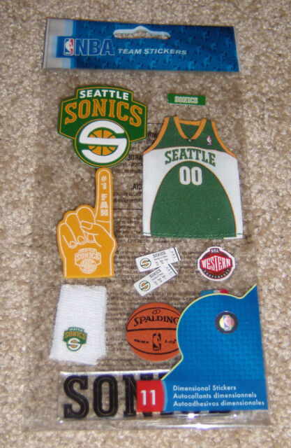 Seattle Sonics Nba Basketball Uniform 3d Scrapbook Stickers Retail