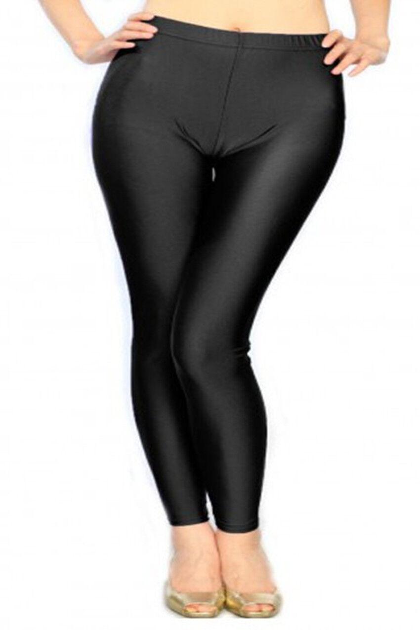 women plus size liquid shiny fashion leggings solid black one size