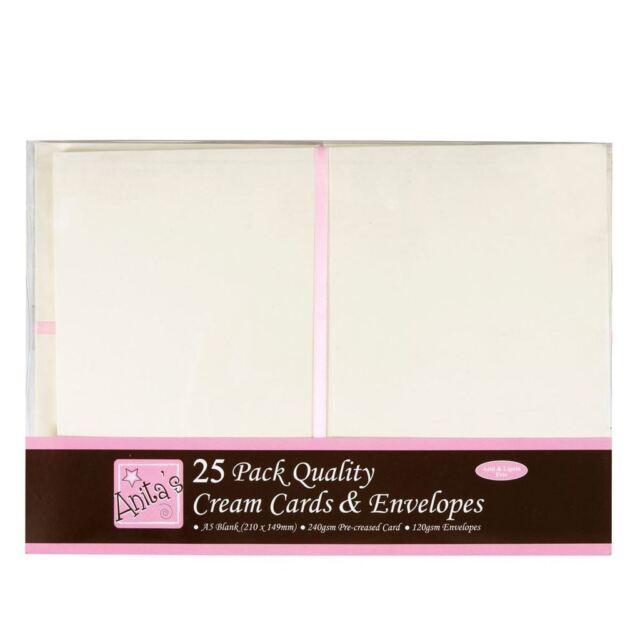 Anitas 25 x a5 quality grade plain cream greetings card blanks anitas 25 x a5 quality grade plain cream greetings card blanks envelopes m4hsunfo
