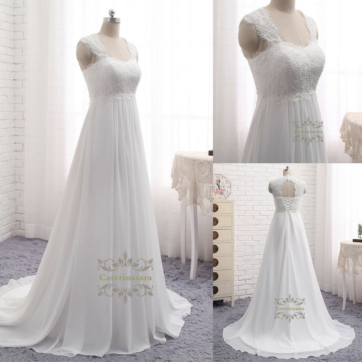 a Line Square Neck Wedding Dresses French Lace Applique Keyhole ...