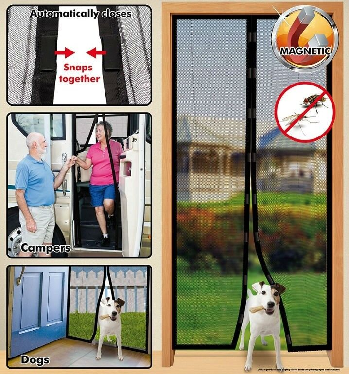 Instant Mesh Screen Door Magnetic Hands Free Bug Mosquito Fly Pet Patio Net