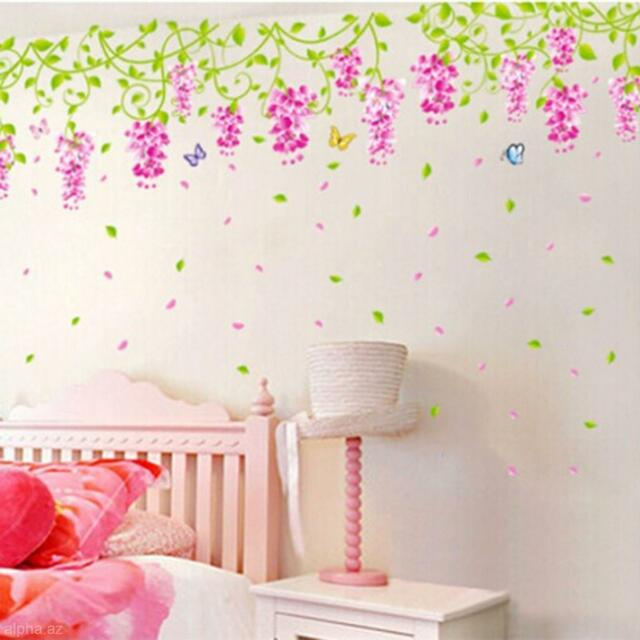 Wedding Bedroom Decor Decal Wisteria Flower Butterfly Lively Wall ...