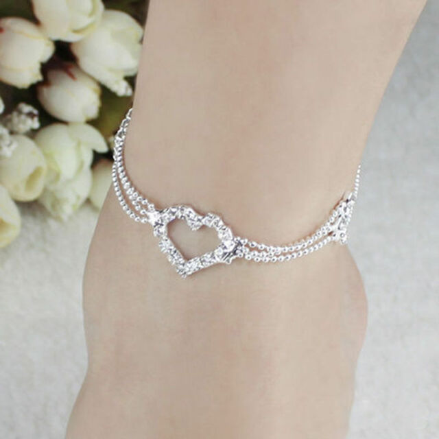 bead plated bracelet charm anklet s jewelry ankle chain silver fashion crystal p new