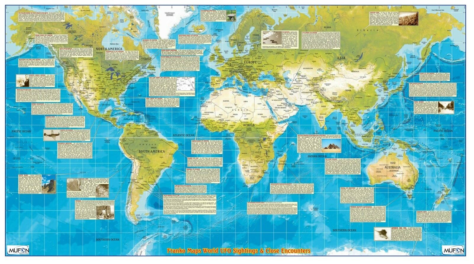 Ufo sightings close encounters world map poster ebay picture 1 of 3 gumiabroncs Gallery