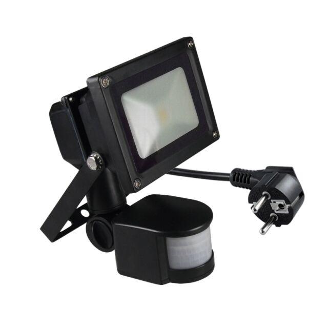 schwarzer LED Fluter mit Bewegungsmelder 230V / Flutlicht-Strahler Scheinwerfer