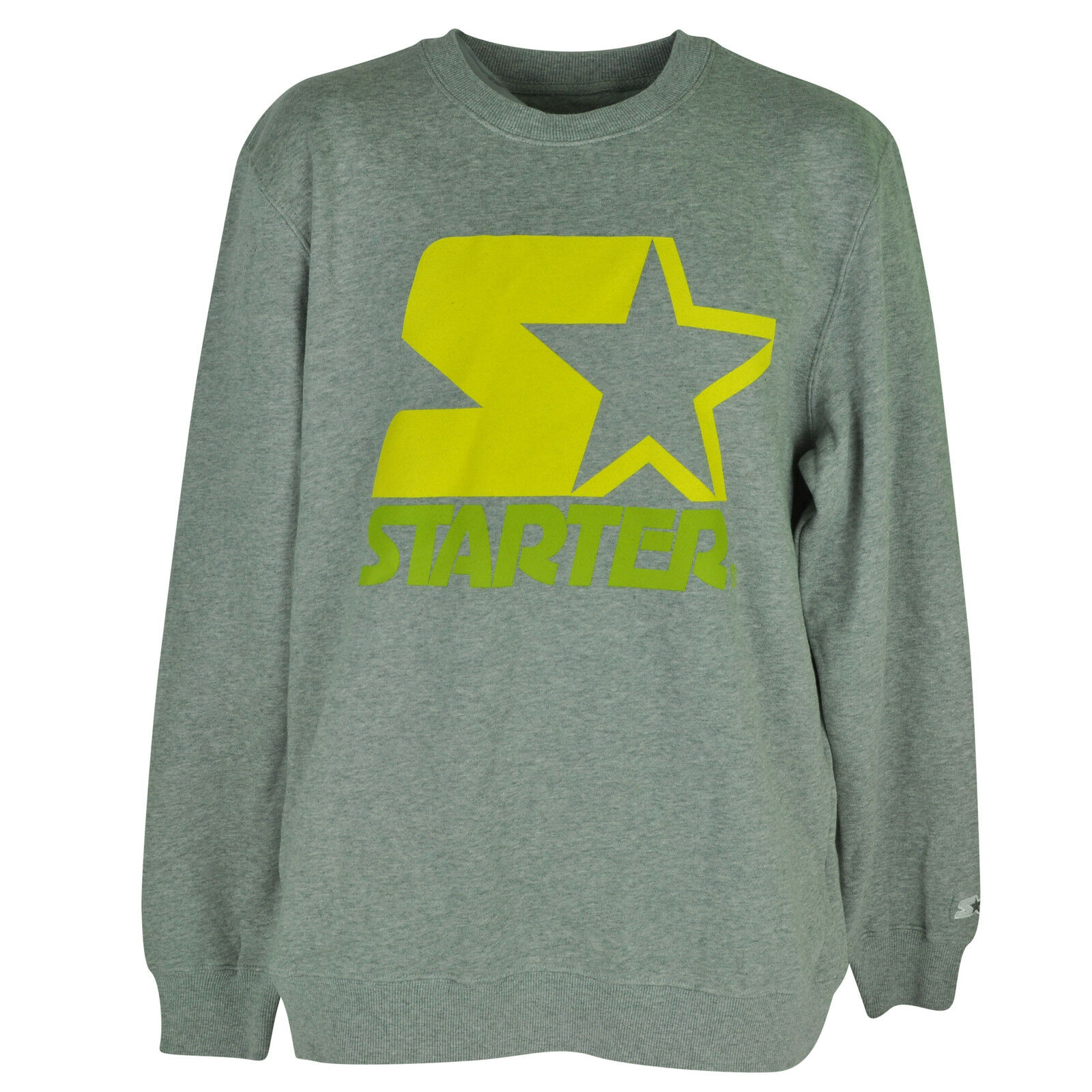 Starter Wordmark Pullover Sweater Mens Adult Crew Neck Fleece Gray ...