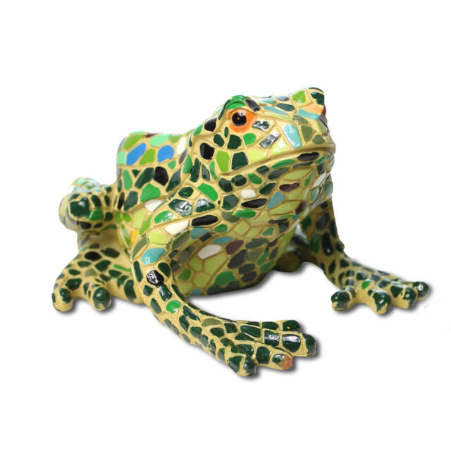 Large Mosaic Finish Frog Garden Ornament In Resin Multi Coloured Design