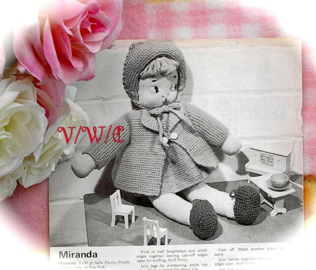Vintage 50s Doll Knitting Pattern Miranda Clothes Just Uk Ebay
