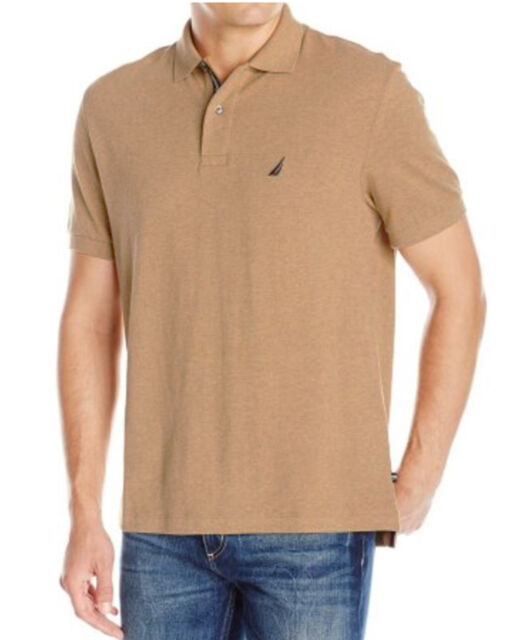 Nautica Heather Beige Mens Size XL Performance Polo Rugby Shirt ...