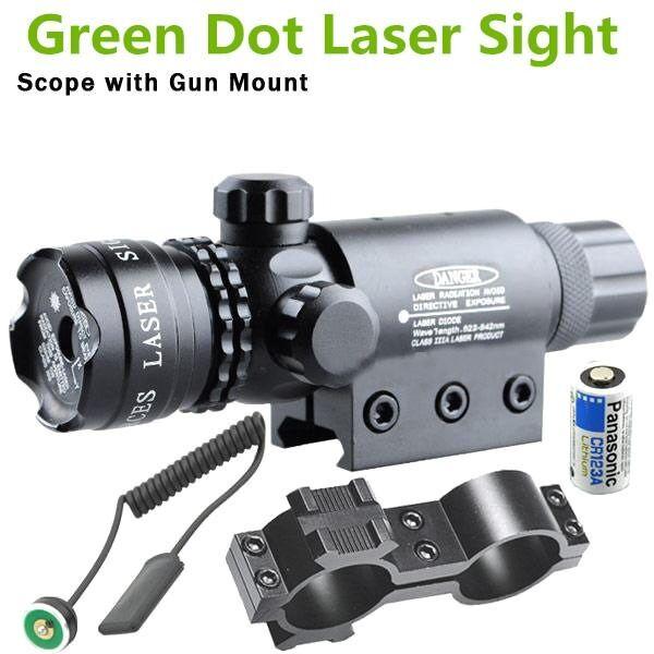 Tactical Green Dot Laser Sight Rifle Scope+Switch+Picatinny Rail+Barrel Mounts