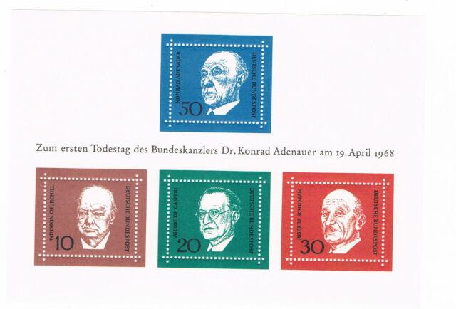 BUND  Block 4  1. Todestag von Dr. Konrad Adenauer  1969   postfrisch