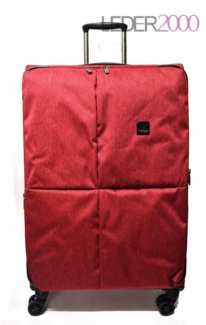 Reise Titan Koffer Trolley Square 4 Rollen L 78 cm Rot Weich Gepäck Dehnfalte