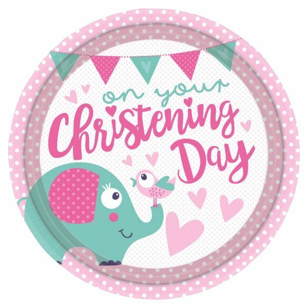 Christening Baptism Paper Plate 9\  23cm 8pk Baby Party Decorations Tableware  sc 1 st  eBay & Amscan International 9901937 23cm on Your Christening Day Pink Paper ...