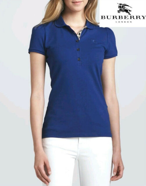 blue burberry polo